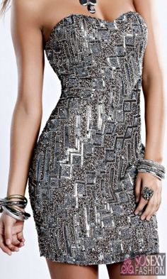 Short Strapless Sequin Platinum Dress - So Sexy Fashion Store