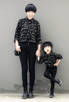 nu goth mummie and kiddie. <3<3<3 Makes me want my own little Mini Me.