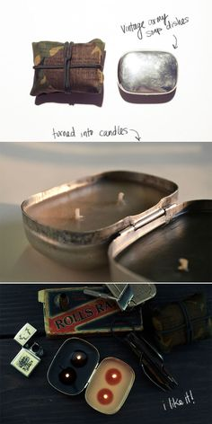vintage tins and candles. WOW - hadn't thought about this. Altoids tin candle is something I want to do.