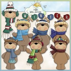 Clip Art and Digital Stamps Download with 8 Color Images and 8 Black and White Images with a white fill (as shown in the preview).  All images are high quality 300 dpi for beautiful printing results.  Formats: transparent PNG and non-transparent JPG Includes: 6 winter bears, 1 bear head, 1 mittens divider that spells out: WINTER.
