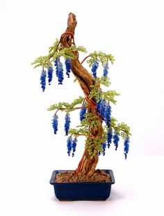 Mystic Blue Wisteria Beaded Bonsai - Glass and Wire Tree Sculputre -  Rosewind Studio