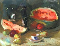 """Sergei Bongart <br/> <i>Still Life with Watermelon </i><br/> 24"""" x 30"""" oil/canvas SOLD"""