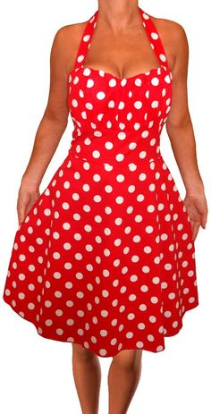 Funfash Plus Size Dress Red White Polka Dots Rockabilly Halter Plus Size Dress