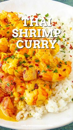 This authentic Thai shrimp curry is loaded with flavor, with spicy curry paste, creamy coconut milk and succulent shrimp. Easy to make! Serve it with rice or noodles. It's a perfect weeknight meal. Thai Curry Recipes, Spicy Chicken Recipes, Grilled Shrimp Recipes, Prawn Recipes, Shrimp Recipes Easy, Seafood Recipes, Asian Recipes, Best Prawn Recipe, Whole30 Shrimp Recipes