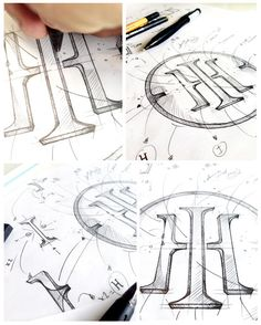 Logo drawings by hand with pencil.