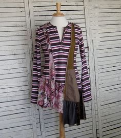 Asymmetrical Tunic S/M Upcycled Clothing Recycled by AnikaDesigns, $48.00