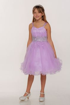 Girls Dress Style 65008 - LILAC Spaghetti Strap Rhinestone Dress with Corset Back Be the life of the party in this super cute chiffon and sequin dress. The rhinestone detailing in the waistband and the corset back make the dress stand out amongst all others. You will want to enlarge the picture to see the pretty rhinestones on the dress. http://www.flowergirldressforless.com/mm5/merchant.mvc?Screen=PROD&Product_Code=CC_65008L&Store_Code=Flower-Girl&Category_Code=Lilac