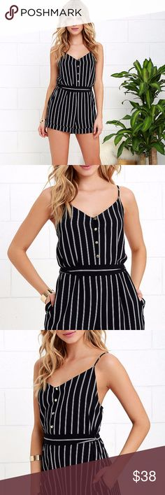 LULUS YACHT LIFE MIDNIGHT BLUE STRIPED ROMPER Worn 1x and in new condition, got lots of compliments!  Enjoy the good life, and look good while doing it, in the Yacht Life Midnight Blue Striped Romper! Woven fabric features nautical ivory stripes over a triangle bodice with gold buttons, and elastic at back. Adjustable spaghetti straps. Sash belt introduces cuffed shorts.Fit: This garment fits true to size. Length: Above mid-thigh. Bust: Great for any cup size.Waist: Loosely Fitted. Hip Not…