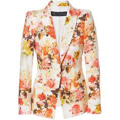 Zara Piqué Floral Blazer ($100) via Polyvore