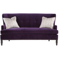 Ada Hollywood Regency Mocha Wood Antique Nickel Nailhead Purple... ($1,854) ❤ liked on Polyvore featuring home, furniture, sofas, nailhead trim sofa, nail head sofa, nailhead furniture, wooden love seat and mocha sofa