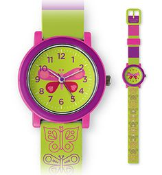 What time is it? Fun, new first watches for both boys and girls. A great way to learn to tell time. Bold, distinctive colors and patterns. For ages 3+ battery. Water resistant (do not submerge), phthalate-free PVC band. Stainless steel 304 case back. Crocodile Creek products conform to all of the appropriate safety standards.