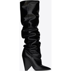 Saint Laurent Niki 105 Thigh-high Boot ($1,870) ❤ liked on Polyvore featuring shoes, boots, scrunch boots, thigh high boots, above-knee boots, cone heel boots and over the knee boots