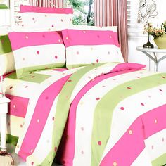 Pink & Green Polka Dots Stripes Teen Girl Bedding Queen King Duvet Cover Sets - Life