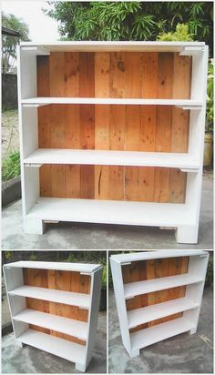 In this creative designed wood pallet project we have an idea of the artistic designed wood pallet shelving unit. This shelving unit is featuring with the various sections of the shelves. You can beautifully make this shelving unit structure as part of your living room whose shelves can be purposely used for placing books, decoration accessories or picture frames.