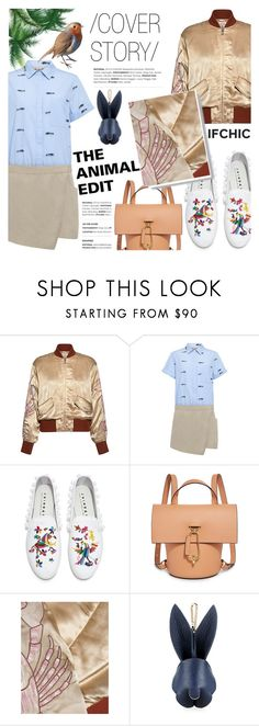 """""""Cover Story: THE ANIMAL EDIT"""" by ifchic ❤ liked on Polyvore featuring Ganni, 10 Crosby Derek Lam, Joshua's, ZAC Zac Posen, Karen Walker and contemporary"""