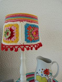 Lampenkap haken, crochet lamp shade, vakantieproject 5