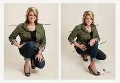The Posing Guide - The eye likes to follow a line, but not a dead level horiztonal line. Leveled body images are widening and create zero dimension in the image. The same is true for knees and elbows that point directly to the camera. For the most slimming pose, turn to the side and bend the leg closest to the camera.