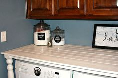 laundry room table- love the idea of having a table or counter to fold clothes on. I have a table and if I had a big enough laundry room, I could put the table in there and use it to sew or fold clothes.