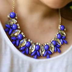 We have 2 beautiful blue statement bib necklaces. Also comes in yellow! Great price for a fun necklace!