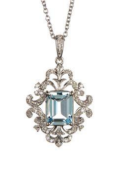 Effy | 14K White Gold Diamond & Aquamarine Necklace |   Sponsored by Nordstrom Rack. ==
