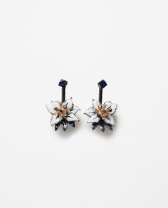 ZARA - WOMAN - FLORAL EARRINGS WITH CRYSTAL DETAILS