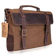 Kattee Vintage Canvas Leather Messenger traveling Briefcase shoulder laptop Bag