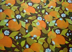 4m Vintage Vinyl Wallpaper Orange and Brown 1970's by FrenchCandy