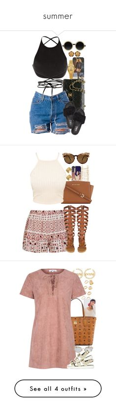 """""""summer"""" by laiixo ❤ liked on Polyvore featuring Rolex, Chanel, Calvin Klein Collection, Moscot, Puma, River Island, Ally Fashion, MICHAEL Michael Kors, Vince Camuto and ASOS"""
