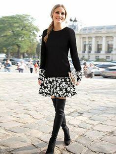 Black Sweet Floral Hem Plus Size Long Sleeve Dress & Dresses - at Jollychic Estilo Olivia Palermo, Olivia Palermo Style, Look Formal, Long Sleeve Floral Dress, Winter Mode, Flower Dresses, Passion For Fashion, Sexy, Street Style