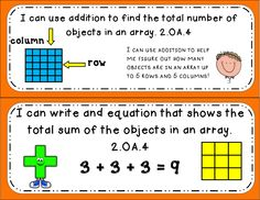 2.OA.4 Arrays with Addition: Math tasks, exit tickets, I can statmenst! Great ways to engage students in mathematical dialogue and quickly assess their knowledge!  #commoncore #mathtasks #exittickets #mathcenters