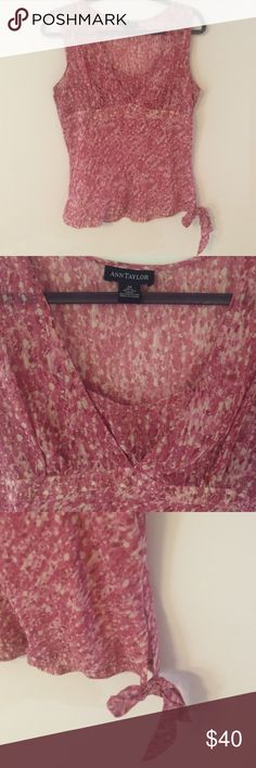 Pretty Pink Chiffon Blouse Very pretty pink and white patterned blouse from Ann Taylor. B-neck with defined waistline. Side tie adds a fun flair. Worn a few times, like new! Bundle and save 25%! Ann Taylor Tops Blouses