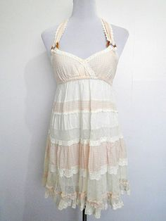Summer Sale: ivory white and pastel pink checkered gypsy dress (small) by VintageHomage, $18.00