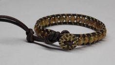 Leather Wrap Czech Glass Bracelet Free Shipping by kasual2klassy, $29.00