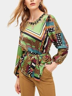 Shop Scarf Print Self Tie Waist Blouse online. SHEIN offers Scarf Print Self Tie Waist Blouse & more to fit your fashionable needs. Trendy Clothes For Women, Trendy Outfits, Black Tie Affair, Spring Shirts, Suit And Tie, Blouse Online, Fashion News, Classy, Sleeves
