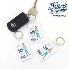 Set of 12 PVC Keyring Best Dad Design Fathers Day School Fundraising Gift Free Pen, Worlds Best Dad, School Fundraisers, Pen Sets, Free Wedding, Groomsman Gifts, Fundraising, Fathers Day, Make It Simple