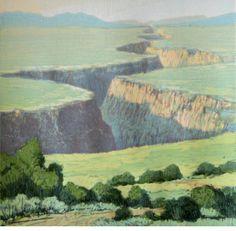 LeonLoughridge  Gorge Sunrise   Woodblock print  9 x 9 in.