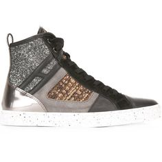 Hogan Rebel Metallic Glitter Hi-Tops ($316) ❤ liked on Polyvore featuring shoes, sneakers, black, leather high tops, metallic shoes, colorful sneakers, colorful high top sneakers and leather hi top sneakers