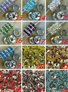 can choose color  free shipping 10mm Green Rhinestone Crystal Rondelle Spacer Beads Lot,Rhodium Plated Big Hole European Beads.
