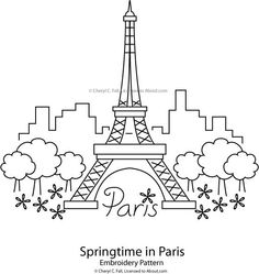 eiffel tower free embroidery pattern springtime in paris pattern - Www Coloring