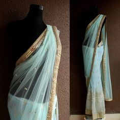 PSS302: Sensuous sky blue half and half saree with mirror hand embroidery  #PritiSahni #pritisahnisarees #indiandesigner #indiandesigners #ilovesaree #sari #custommade #fashiondiaries #fashion #couture #contemporary #sareelove #sarees #100sareepact #elegance #handmade #embroidery #luxury #fblogger #stylist #fashionstylist #bridalcouture #instadaily #instasaree #fashionstyling