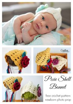 Pixie Shell Bonnet Newborn- 3months.  FREE pattern