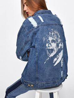 5e45b60d6ea Mid Wash Rips Detail Boyfriend Denim Jacket -SheIn(Sheinside) Punk Jackets