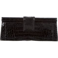 Pre-owned Nancy Gonzalez Crocodile Frame Clutch ($475) ❤ liked on Polyvore featuring bags, handbags, clutches, nancy gonzalez, pre owned handbags, pre owned purses, frame clutch and crocodile embossed handbags