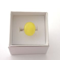 Bright yellow fused glass ring, adjustable