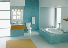 #Baño azul turquesa   Blue turquoise #Bathroom