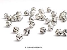 Metal Beads, 6mm Round Corrugated Antique Silver Pewter Spacer Beads, 1mm Hole, Lead Free,  Lot Size 12 to 50, #1081