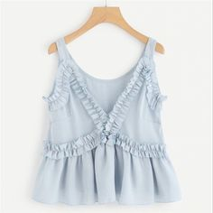 To find out about the Frill Embellished Chiffon Top at SHEIN, part of our latest Tank Tops & Camis ready to shop online today! Cute Tank Tops, Cami Tops, Summer Tank Tops, Jugend Mode Outfits, Woman Beach, Personalized T Shirts, Chiffon Tops, Sleeveless Tops, Passion For Fashion