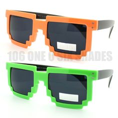 Retro PARTY RAVER Novelty Nerd Geek GAMER 2-Tone PIXEL CLEAR Glasses More Colors