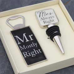 Mr & Mrs Bottle Opener and Stopper Set | The Gift Experience