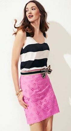 I can't get enough of navy stripes and hot pink!!